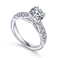Desire 18k White Gold Round Straight Engagement Ring angle 3