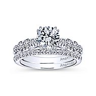 Desire 18k White Gold Round Straight Engagement Ring angle 4