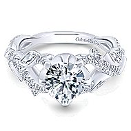 Desiree 14k White Gold Round Twisted Engagement Ring angle 1