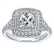 Destiny 14k White Gold Cushion Cut Double Halo Engagement Ring
