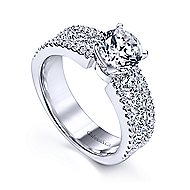 Devon 14k White Gold Round Straight Engagement Ring angle 3