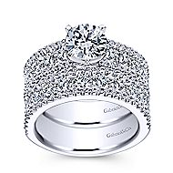 Devon 14k White Gold Round Straight Engagement Ring angle 4