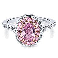 Devyn 14k White And Rose Gold Oval Double Halo Engagement Ring angle 1