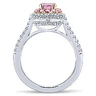 Devyn 14k White And Rose Gold Oval Double Halo Engagement Ring angle 2