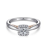Deya 14k White And Rose Gold Princess Cut Halo Engagement Ring angle 1
