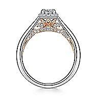 Deya 14k White And Rose Gold Princess Cut Halo Engagement Ring angle 2