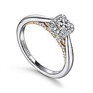 Deya 14k White And Rose Gold Princess Cut Halo Engagement Ring angle 3