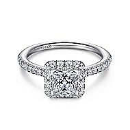 Diana 14k White Gold Princess Cut Halo Engagement Ring angle 1
