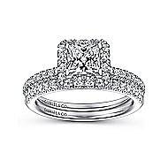 Diana 14k White Gold Princess Cut Halo Engagement Ring