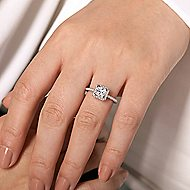Diana 14k White Gold Princess Cut Halo Engagement Ring