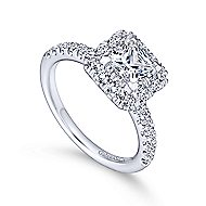 Diana 14k White Gold Princess Cut Halo Engagement Ring angle 3
