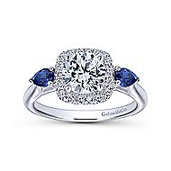 Dina 14k White Gold Round 3 Stones Halo Engagement Ring angle 5