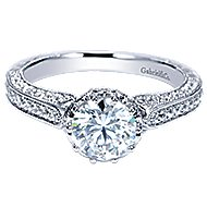 Dinah 14k White Gold Round Straight Engagement Ring angle 1