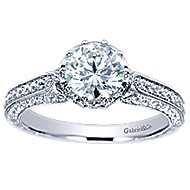 Dinah 14k White Gold Round Straight Engagement Ring angle 5