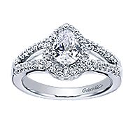 Dion 14k White Gold Pear Shape Halo Engagement Ring angle 5