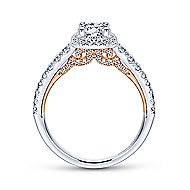 Divine 14k White And Rose Gold Round Halo Engagement Ring angle 2