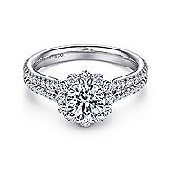 Dixie 14k White Gold Round Halo Engagement Ring angle 1
