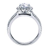 Dixie 14k White Gold Round Halo Engagement Ring angle 2