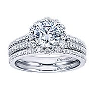 Dixie 14k White Gold Round Halo Engagement Ring angle 4