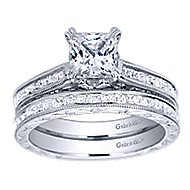 Dolores 14k White Gold Princess Cut Straight Engagement Ring angle 4