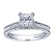 Dolores 14k White Gold Princess Cut Straight Engagement Ring angle 5