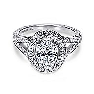 Dorothea 14k White Gold Oval Halo Engagement Ring angle 1
