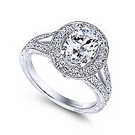 Dorothea 14k White Gold Oval Halo Engagement Ring angle 3
