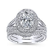 Dorothea 14k White Gold Oval Halo Engagement Ring angle 4