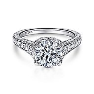 Dream 18k White Gold Round Straight Engagement Ring angle 1