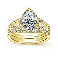 Drew 14k Yellow Gold Pear Shape Halo Engagement Ring angle 4