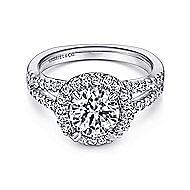 Drew Platinum Round Halo Engagement Ring angle 1