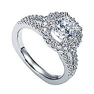 Drew Platinum Round Halo Engagement Ring angle 3
