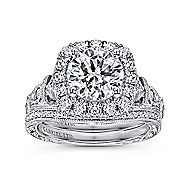 Dulce 18k White Gold Round Halo Engagement Ring angle 4