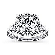 Dulce 18k White Gold Round Halo Engagement Ring angle 5