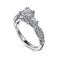 Edlynn 14k White Gold Cushion Cut 3 Stones Engagement Ring angle 3