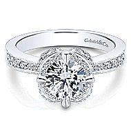 Edwina 14k White Gold Round Halo Engagement Ring angle 1