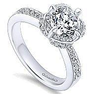 Edwina 14k White Gold Round Halo Engagement Ring angle 3