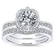 Edwina 14k White Gold Round Halo Engagement Ring angle 4