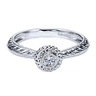 Eiffel 14k White Gold Round Halo Engagement Ring