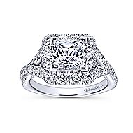 Eileen 14k White Gold Princess Cut Halo Engagement Ring