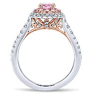 Elara 14k White And Rose Gold Oval Double Halo Engagement Ring