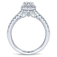 Eleanora 14k White Gold Princess Cut Halo Engagement Ring angle 2