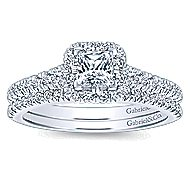 Eleanora 14k White Gold Princess Cut Halo Engagement Ring angle 4
