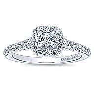 Eleanora 14k White Gold Princess Cut Halo Engagement Ring angle 5