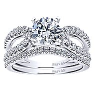 Elena 18k White Gold Round Split Shank Engagement Ring angle 4