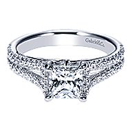 Eli 14k White Gold Princess Cut Split Shank Engagement Ring angle 1