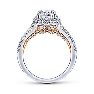 Eliana 14k White And Rose Gold Cushion Cut Halo Engagement Ring