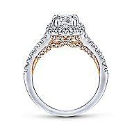 Eliana 14k White And Rose Gold Cushion Cut Halo Engagement Ring angle 2