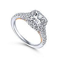 Eliana 14k White And Rose Gold Cushion Cut Halo Engagement Ring angle 3