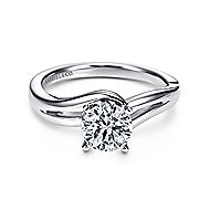 Elise 14k White Gold Round Bypass Engagement Ring angle 1
